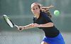Emma Rosenberg of Port Washington returns volley during the Nassau County varsity girls' tennis doubles consolation final (third place match) at Eisenhower Park on Sunday, October 18, 2015.<br /> <br /> James Escher