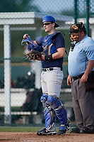 Henry Puopolo (63), from New York, New York, while playing for the Padres during the Baseball Factory Pirate City Christmas Camp & Tournament on December 28, 2017 at Pirate City in Bradenton, Florida.  (Mike Janes/Four Seam Images)