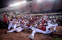 Fan&aacute;ticos de beisbol celebran con el equipo de Republica Dominicana al ganar 7 carreras por 3 a Cuba. <br /> .<br /> Partido de beisbol de la Serie del Caribe con el encuentro entre los Alazanes de Gamma de Cuba contra las &Aacute;guilas Cibae&ntilde;as de Republica Dominicana en estadio Panamericano en Guadalajara, M&eacute;xico, Lunes 5 feb 2018. <br /> (Foto: Luis Gutierrez)<br /> <br /> .<br /> Baseball game of the Caribbean Series with the match between the Gamma Alazanes of Cuba against the Cibae&ntilde;as Eagles of the Dominican Republic at the Pan American Stadium in Guadalajara, Mexico, Monday, Feb. 5, 2018.<br /> (Photo: Luis Gutierrez)