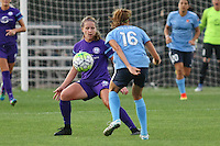 Piscataway, NJ - Wednesday Sept. 07, 2016: Maddy Evans, Sarah Killion during a regular season National Women's Soccer League (NWSL) match between Sky Blue FC and the Orlando Pride FC at Yurcak Field.
