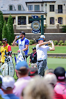 Jordan Spieth (USA) watches his tee shot on 8 during Saturday's round 3 of the PGA Championship at the Quail Hollow Club in Charlotte, North Carolina. 8/12/2017.<br /> Picture: Golffile | Ken Murray<br /> <br /> <br /> All photo usage must carry mandatory copyright credit (&copy; Golffile | Ken Murray)