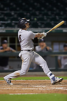 Ryan McBroom (6) of the Scranton/Wilkes-Barre RailRiders follows through on a solo home run in the top of the ninth inning against the Charlotte Knights at BB&T BallPark on August 13, 2019 in Charlotte, North Carolina. The Knights defeated the RailRiders 15-1. (Brian Westerholt/Four Seam Images)