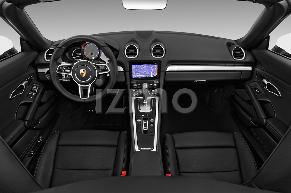 Stock photo of straight dashboard view of 2019 Porsche 718-Boxster S 2 Door Convertible Dashboard