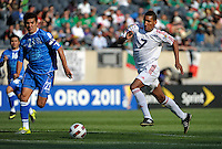 El Salvador's Luis Anaya looks to cut off Cuba's Marcel Hernandez.  El Salvador defeated Cuba 6-1 at the 2011 CONCACAF Gold Cup at Soldier Field in Chicago, IL on June 12, 2011.