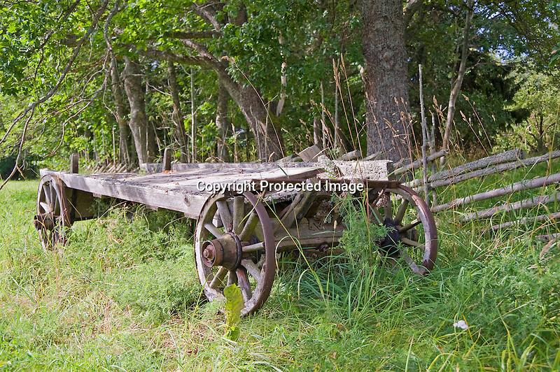 Old Wooden Farm Wagon Resting on the Island of Kökar