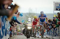 James Vanlandschoot (BEL/Wanty-GroupeGobert) &amp; Romain Zingle (BEL/Cofidis) had to let the breakaway go on the Oude Kwaremont<br /> <br /> Ronde van Vlaanderen 2014