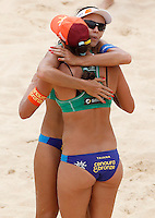 Brazil's Taiana Lima, back to camera, and Talita Antunes celebrate at the Beach Volleyball World Tour Grand Slam, Foro Italico, Rome, 22 June 2013. Brazil defeated Switzerland 2-1.<br /> UPDATE IMAGES PRESS/Isabella Bonotto