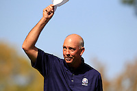 2006 Captain Tom Lehman on the 1st tee for the Captains/Celebrity scramble exhibition during Monday's Practice Day of the 39th Ryder Cup at Medinah Country Club, Chicago, Illinois 25th September 2012 (Photo Eoin Clarke/www.golffile.ie)