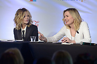 NWA Democrat-Gazette/BEN GOFF @NWABENGOFF<br /> Meg Ryan and Geena Davis read a scene from 'Butch Cassidy and the Sundance Kid' Thursday, May 4, 2017, while taking part in the Bentonville Film Festival's 'Geena and Friends' panel at Record in Benotnville. The panel has become a popular feature of the festival, with Davis and other female celebrities performing table reads of movie scenes featuring predominantly male casts.