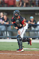 South Division catcher Max McDowell (4) of the Carolina Mudcats makes a throw to second base during the 2018 Carolina League All-Star Classic at Five County Stadium on June 19, 2018 in Zebulon, North Carolina. The South All-Stars defeated the North All-Stars 7-6.  (Brian Westerholt/Four Seam Images)