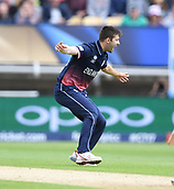 June 10th 2017, Edgbaston, Birmingham, England;  ICC Champions Trophy Cricket, England versus Australia; Mark Wood of England celebrates the wicket of David Warner of Australia caught behind by Jos Buttler of England