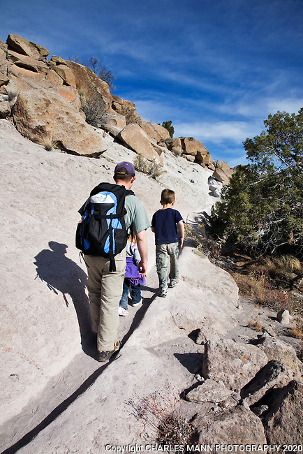 A popular part of  Bandelier National Monument, the trails at Tsankwi have been worn into ruts by the feet of thousands of hikers.