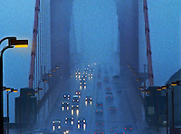 Golden Gate Bridge, San Francisco, in foggy weather. California, United States of America.