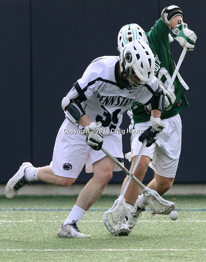 Penn State's Dan Craig (35) against Dartmouth's Austin Cohen (19) on March 18, 2014. No. 12 Penn State defeated Dartmouth 10-6. Photo/©2014 Craig Houtz
