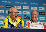 Peter Beattie (Chairman, Gold coast 2018 Commonwealth games corporation) smiles watched by Mark Peters (CEO, Gold coast 2018 Commonwealth games corporation). Team Scotland press conference. Main press centre. Gold Coast 2018. Queensland. Australia. 04/04/2018. ~ MANDATORY CREDIT Garry Bowden/SIPPA - NO UNAUTHORISED USE - +44 7837 394578