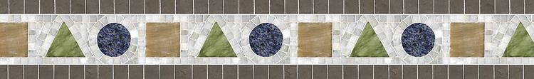 "6"" Geometria border, a hand-cut stone mosaic, shown in polished Alba Chiara, Blue Bahia, Chartreuse, Honey Onyx, honed Montevideo."