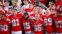 "Ohio State University football players sing ""Carmen Ohio"" after a 63-14 win over Penn State during Saturday's NCAA Division I football game at Ohio Stadium on October 26, 2013. (Barbara J. Perenic/The Columbus Dispatch)"
