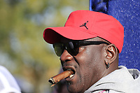 Michael Jordan enjoying the golf at the 13th green during Saturday's Foursomes Matches at the 2018 Ryder Cup 2018, Le Golf National, Ile-de-France, France. 29/09/2018.<br /> Picture Eoin Clarke / Golffile.ie<br /> <br /> All photo usage must carry mandatory copyright credit (&copy; Golffile | Eoin Clarke)