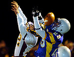 A pass intended for Rockville 23, Tory Lukas, goes through his hands as SW 72, Jordan Broaden blocks, right at Rockville's goal line in the final moments of the 1st hghalf. A Jim Michaud pic 11/22/06