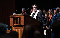 Susan Young, Director for Religious and Spiritual Life<br /> The class of 2023 are welcomed to Occidental College by trustees, faculty and staff in Thorne Hall on Aug. 27, 2019 during Oxy's 132th Convocation ceremony, a tradition that formally marks the start of the academic year and welcomes the new class.<br /> (Photo by Marc Campos, Occidental College Photographer)