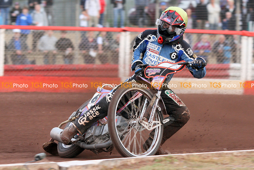 Heat 4: Leon Madsen in action for Poole - Lakeside Hammers vs Poole Pirates - Sky Sports Elite League Speedway at Arena Essex Raceway, Purfleet, Essex - 02/08/10 - MANDATORY CREDIT: Gavin Ellis/TGSPHOTO - Self billing applies where appropriate - Tel: 0845 094 6026