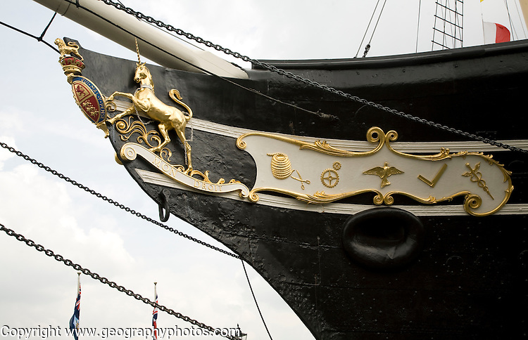Decorated ship bow, SS Great Britain maritime museum, Bristol, England