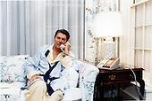 United States President Ronald Reagan is shown as he telephoned Vice President George H.W. Bush from Augusta, Georgia at 5:58 A.M. on Saturday, October 22, 1983, regarding the situation in Granada..Mandatory Credit: Bill Fitz-Patrick - White House via CNP