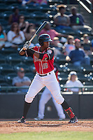 Ti'Quan Forbes (10) of the Hickory Crawdads at bat against the Delmarva Shorebirds at L.P. Frans Stadium on June 18, 2016 in Hickory, North Carolina.  The Crawdads defeated the Shorebirds 1-0 in game one of a double-header.  (Brian Westerholt/Four Seam Images)