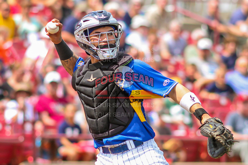 Wisconsin Timber Rattlers catcher Mario Feliciano (4) throws to first base during a Midwest League game against the Cedar Rapids Kernels on August 6, 2017 at Fox Cities Stadium in Appleton, Wisconsin.  Cedar Rapids defeated Wisconsin 4-0. (Brad Krause/Four Seam Images)