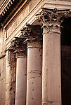 One of the most well preserved and oldest buildings in Rome, the Pantheon was built around 125 AD and is still in use today.  This is a detail of the Corinthian columns on the northeast corner.  It was originally built as a temple to all of the Gods of Rome.