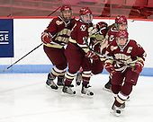 Allison Szlosek (BC - 8), Dru Burns (BC - 7), Meagan Mangene (BC - 24), Danielle Welch (BC - 17) - The Boston College Eagles defeated the Harvard University Crimson 4-2 in the 2012 Beanpot consolation game on Tuesday, February 7, 2012, at Walter Brown Arena in Boston, Massachusetts.