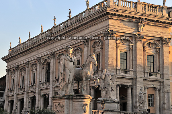 Rome, Italy: Piazza del Campidoglio, view of the Palazzo dei Conservatori