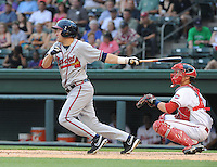 Outfielder Tony Mueller (15) of the Rome Braves, an Atlanta Braves affiliate, in a game against the Greenville Drive on May 7, 2012, at Fluor Field at the West End in Greenville, South Carolina. Greenville won, 11-5. (Tom Priddy/Four Seam Images)