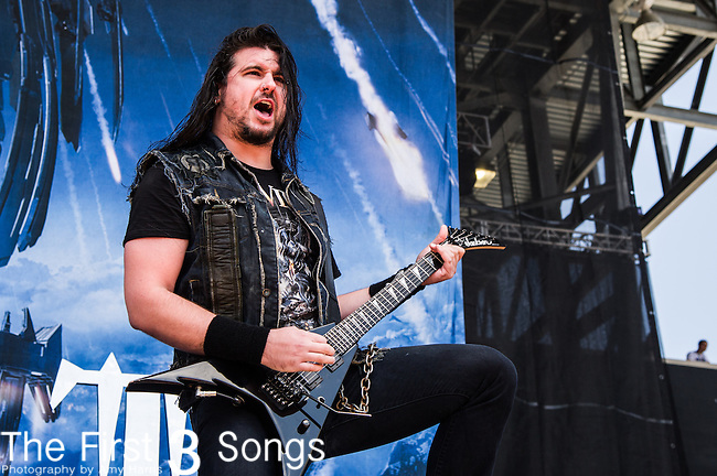 Corey Beaulieu of Trivium performs during the 2014 Rock On The Range festival at Columbus Crew Stadium in Columbus, Ohio.
