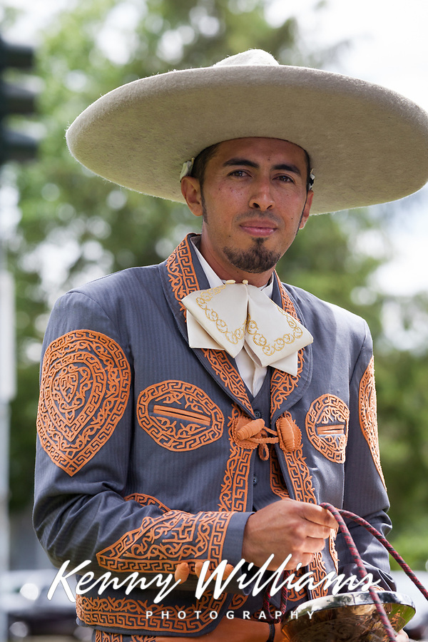 Portrait of Mexican man wearing sombrero hat, Kent Cornucopia Days, Kent, Washington State, WA, USA.