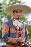 Portrait of Mexican man wearing sombrero hat, Kent Cornucopia Days, Kent, Washington State, WA, USA.