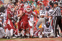 NWA Media/Michael Woods --11/22/2014-- w @NWAMICHAELW...University of Arkansas runningback Jonathan Williams celebrates after a touchdown run in the 1st quarter of Arkansas 30-0 win over Ole Miss during Saturdays game at Razorback Stadium.