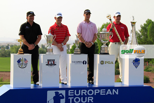 European Tour 2010 Major Winners l-r Graeme McDowell, Louis Oosthuizen, Martin Kaymer and Lee Westwood pose during Practice Day 1 of the Dubai World Championship, Earth Course, Jumeirah Golf Estates, Dubai, 23rd November 2010..(Picture Eoin Clarke/www.golffile.ie)