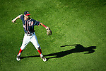 Washington Nationals outfielder Bryce Harper (34) throws the ball in from the outfield during a game against the Miami Marlins at Nationals Park in Washington, DC on September 9, 2012.