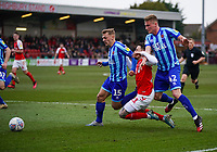 Fleetwood Town's Barrie McKay is tackled by Blackpool's Kieran Dewsbury-Hall and Taylor Moore<br /> <br /> Photographer Lee Parker/CameraSport<br /> <br /> The EFL Sky Bet League One - Fleetwood Town v Blackpool - Saturday 7th March 2020 - Highbury Stadium - Fleetwood<br /> <br /> World Copyright © 2020 CameraSport. All rights reserved. 43 Linden Ave. Countesthorpe. Leicester. England. LE8 5PG - Tel: +44 (0) 116 277 4147 - admin@camerasport.com - www.camerasport.com
