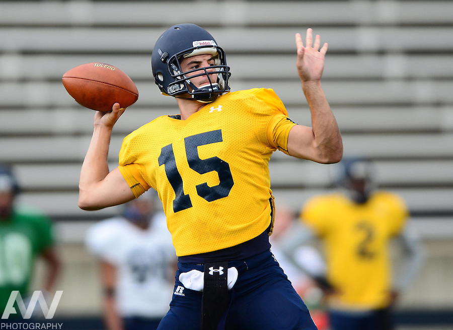 Aug 15, 2012; Toledo, OH, USA; Toledo Rockets quarterback Ryan Gannon (15) during practice at the Glass Bowl. Mandatory Credit: Andrew Weber-US Presswire