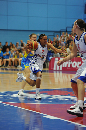 20.08.2010  Jenaya Wade-Fry (GBR)  in action during the Eurobasket Women 2011 Qualifiers   Division A Great Britain take the Ukraine at Surrey University