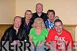 CONCERT: Friends of MS who met up with bagatelle lead singer Liam Reilly of Bagatelle at the MS Kerry Branch Charity Concert, in the Brandon Hotel, Conference Centre on Friday night. Manus Leane, Aileen West, Mary Horan, Catherine Dolan, Ted Cronin and Liam Reilly...................
