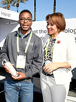 LAS VEGAS, NV - JANUARY 10:  Wasalu Jaco professionally known as Lupe Fiasco and Mayor of Flint Michigan, Karen Weaver at the Zero Mass Water Booth during CES 2019 in Las Vegas, Nevada on January 10, 209. Credit: Damairs Carter/MediaPunch