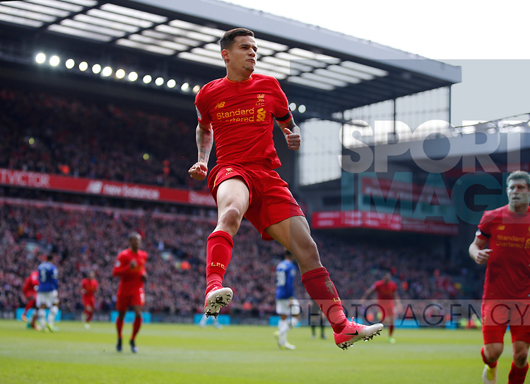 Philippe Coutinho of Liverpool celebrates scoring the second goal during the English Premier League match at Anfield Stadium, Liverpool. Picture date: April 1st 2017. Pic credit should read: Simon Bellis/Sportimage