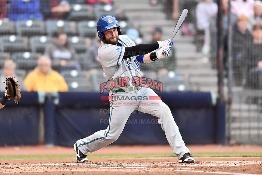 Hartford Yard Goats catcher Jackson Williams (20) swings at a pitch during a game against the Richmond Flying Squirrels at The Diamond on April 30, 2016 in Richmond, Virginia. The Yard Goats defeated the Flying Squirrels 5-1. (Tony Farlow/Four Seam Images)