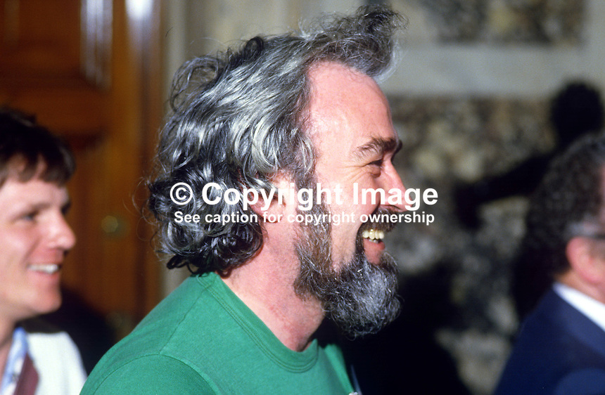 Bob Murray, Belfast, N Ireland, Ulster organiser, Republican Sinn Fein, former member, Provisional Sinn Fein, at City Hall count, May 1985 Local Government Elections. 19830514BM2..Copyright Image from Victor Patterson, 54 Dorchester Park, Belfast, UK, BT9 6RJ..Tel: +44 28 9066 1296.Mob: +44 7802 353836.Voicemail +44 20 8816 7153.Skype: victorpattersonbelfast.Email: victorpatterson@me.com.Email: victorpatterson@ireland.com (back-up)..IMPORTANT: If you wish to use this image or any other of my images please go to www.victorpatterson.com and click on the Terms & Conditions. Then contact me by email or phone with the reference number(s) of the image(s) concerned.