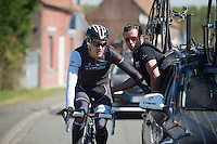 Jasper Stuyven (BEL/Trek Factory Racing) geeting some on the fly assistance<br /> <br /> 2014 Paris-Roubaix reconnaissance