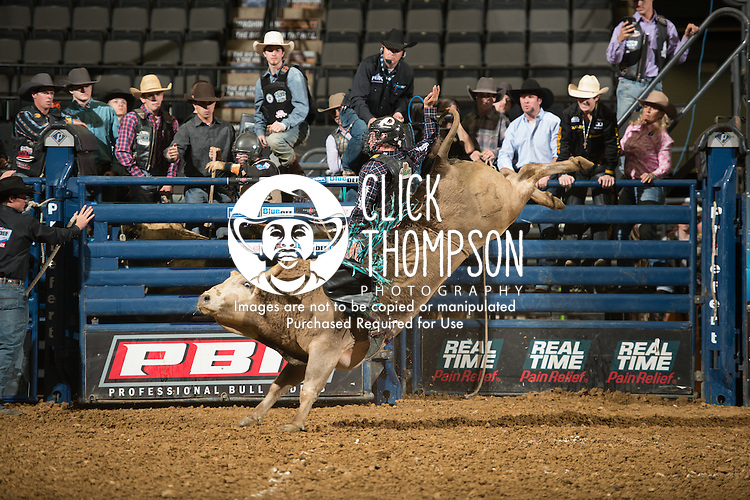 Dakota Louis attempts 0208 Hornet's Nest of Davis Rodeo Ranch during the first round of PBR Blue Def Tour event in Wheeling, WV - 3.18.2016. Photo by Christopher Thompson