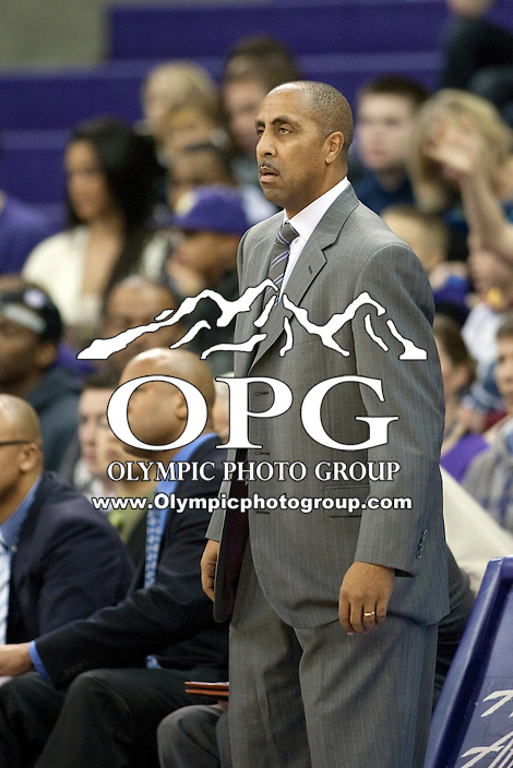 Dec 29, 2011:  Washington head coach Lorenzo Romar screams at his team during the game against Oregon State.  Washington defeated Oregon State 95-80 at Alaska Airlines Arena Seattle, Washington...